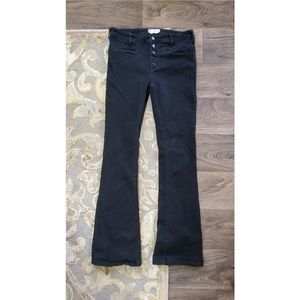 Free People Button Fly Slim Flare Jean Black